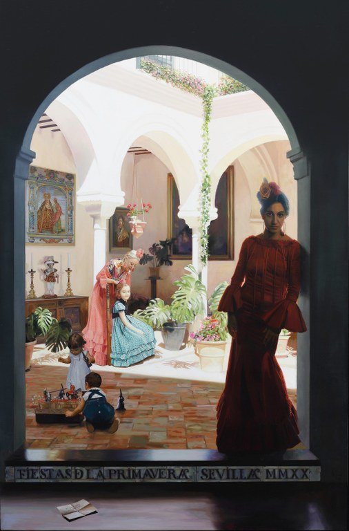 El pintor Fernando Vaquero evoca el paso de la vida a través de las grandes celebraciones de la ciudad en una obra realizada en óleo sobre lienzo para el cartel de las Fiestas de Primavera de 2020 del Ayuntamiento de Sevilla