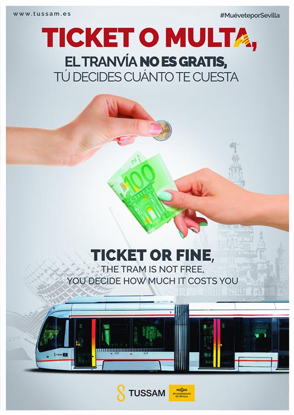 """TUSSAM lanza la campaña """"Ticket o Multa"""" para concienciar a los ciudadanos de la necesidad de validar su título de viaje en el Metrocentro"""