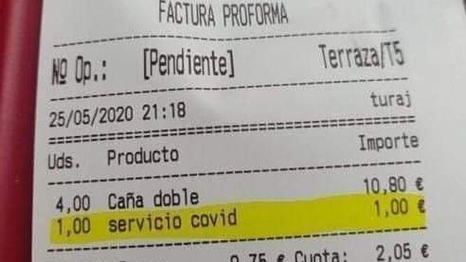 La tasa Covid ya está aquí: un restaurante de Tenerife cobra 1 euro por «servicio Covid»