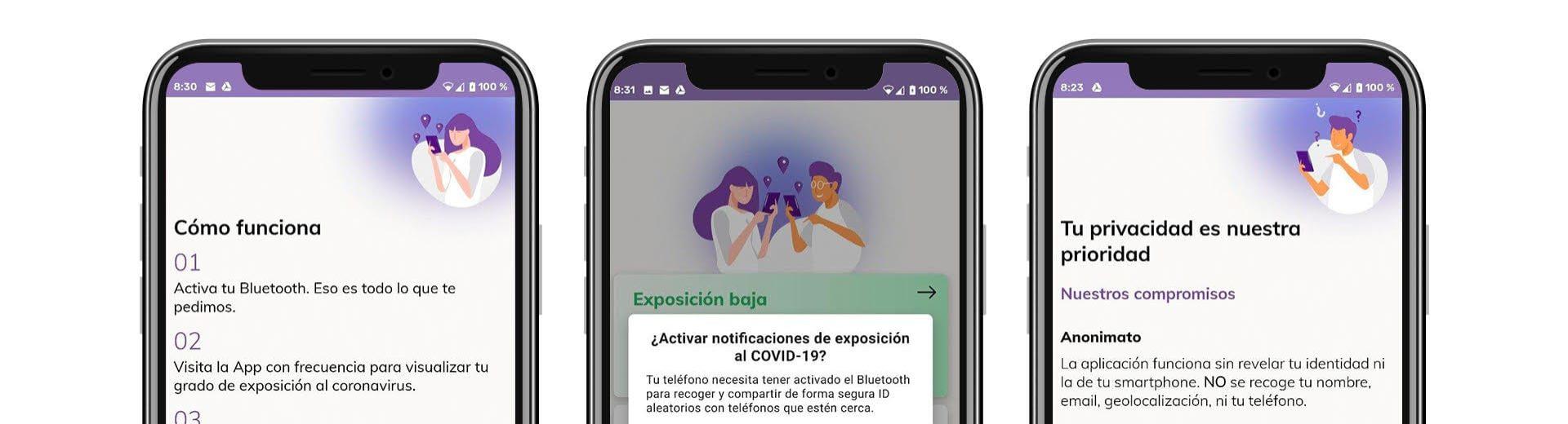 Así será la «app» de rastreo del coronavirus cuando funcione en toda España