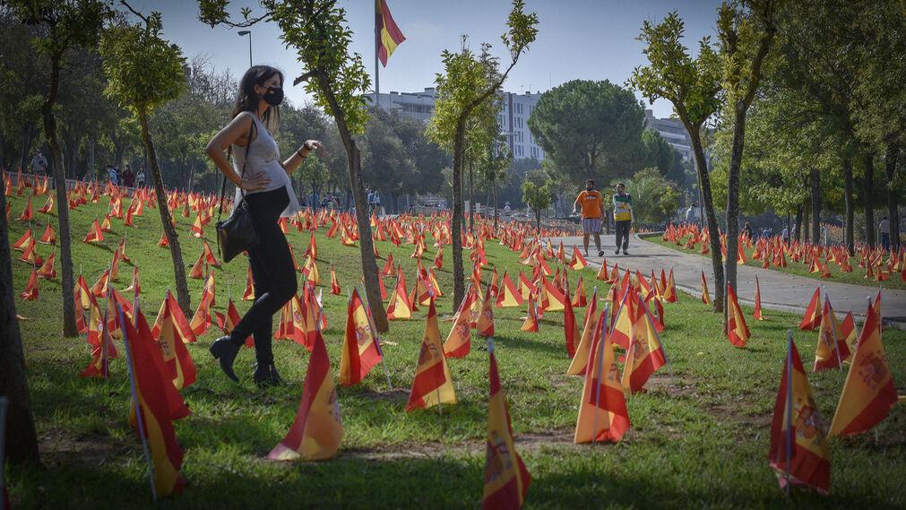 Víctimas del Coronavirus: 53.000 banderas de España junto al río