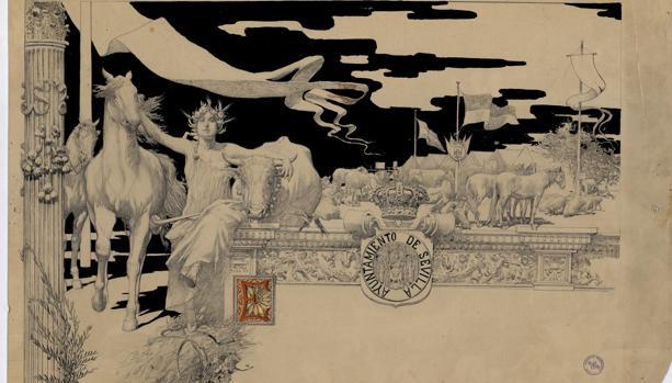 Hallan un dibujo de García Ramos entre los documentos del Archivo de Sevilla