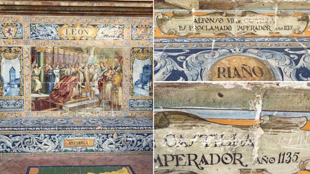 Un turista presume en Twitter de arañar los azulejos de la Plaza de España en Sevilla